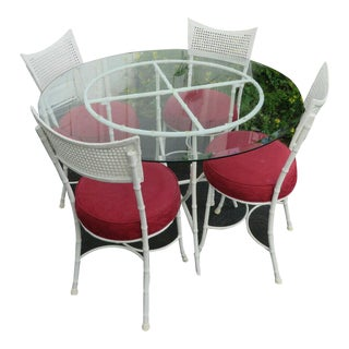 Hollywood Regency Painted Metal Dinette Set - 5 Pieces For Sale