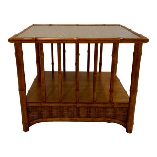 Vintage Faux-Bamboo and Rattan Accent Table With Glass Top For Sale