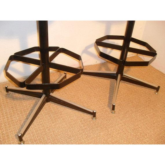 Vintage Mid-Century Modern Upholstered Iron Bar Stools -- A Pair - Image 4 of 5