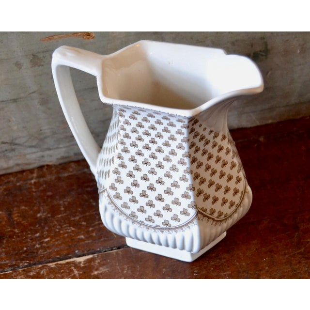 1920s Shabby Chic Transferware Clover Patterned Pitcher For Sale In Boston - Image 6 of 6