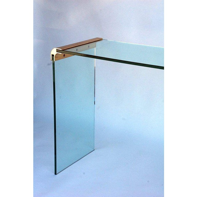 Pace Collection 1970s Pace Collection Glass and Gilt Bronze Console Sofa Table For Sale - Image 4 of 5