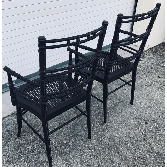 Faux Bamboo Vintage Baker Furniture Faux Bamboo Chairs - a Pair For Sale - Image 7 of 11