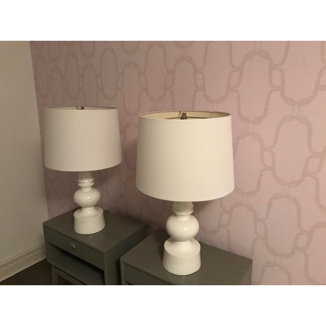 Contemporary West Elm Turned Table Lamps - A Pair For Sale - Image 3 of 7