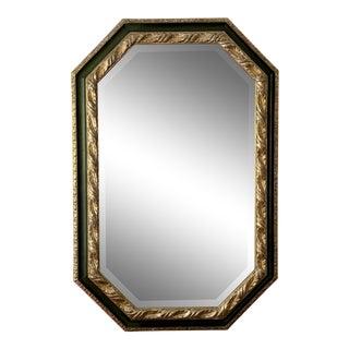 Hand Carved Ebanista White Gold & Dark Green Octagonal Mirror For Sale