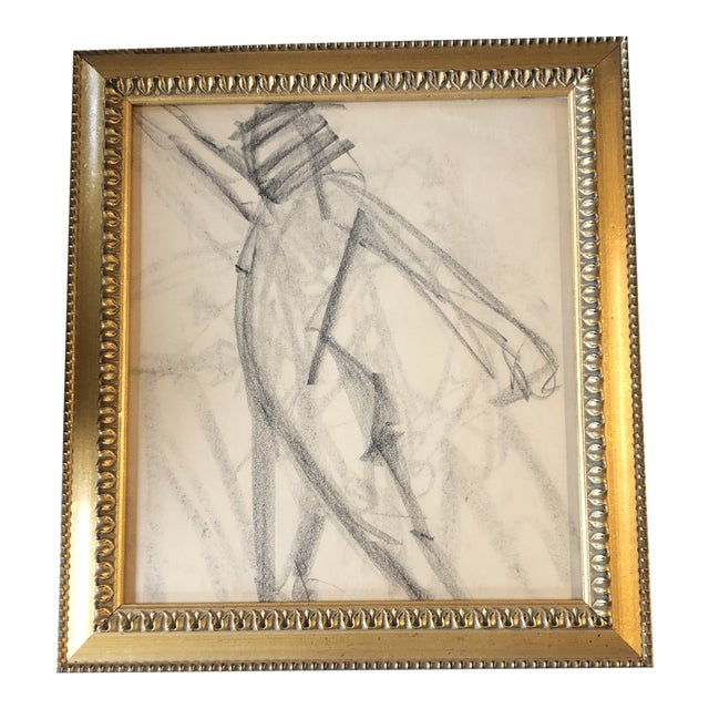 Original Vintage Abstract Nude Charcoal Study Drawing Framed 1950's For Sale