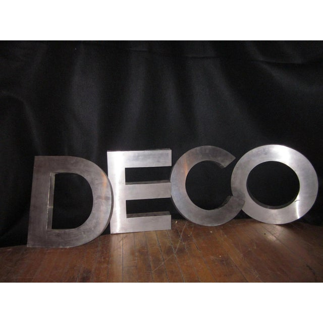 "Art Deco Vintage""Deco"" Stainless Steel Phrase Display Letters Advertising Signage For Sale - Image 3 of 9"