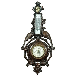 1880 Barometer in a Carved Case For Sale