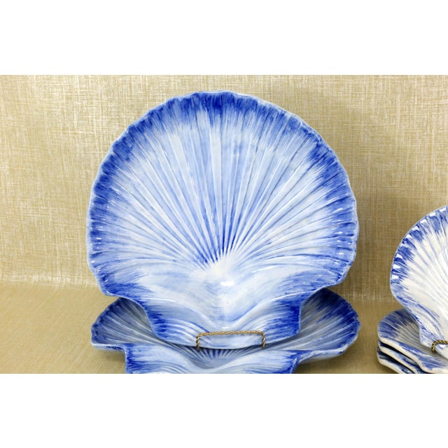 Collection of Made in Portugal Blue and White Shell Pottery - Set of 8 For Sale - Image 4 of 13