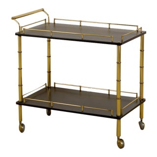 Restored Maxwell Phillips Bar Cart in Brass and Black Lacquer