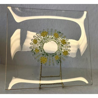 1960's Culver Square Glass Serving Dish With Daisies and Picket Fence Preview