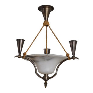 Swedish Neoclassical Iron and Alabaster Candelabra Chandelier For Sale