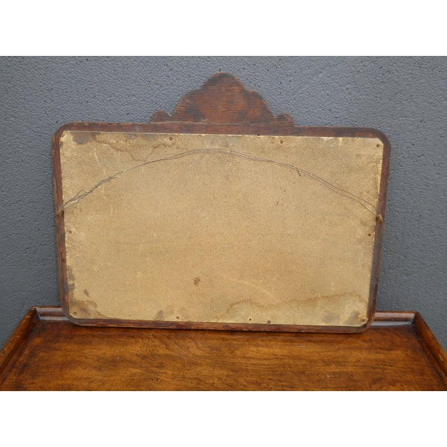 Brown Antique Mid-Century Modern Federal Rustic Beveled Edge W Aged Silver Wall Mirror For Sale - Image 8 of 13