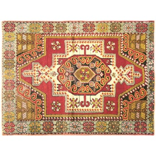 "Nalbandian - 1960s Turkish Oushak Rug - 3'6"" X 4'7"" For Sale"
