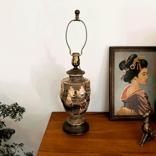 Asian Japanese Satsuma Moriage Table Lamp For Sale - Image 3 of 13