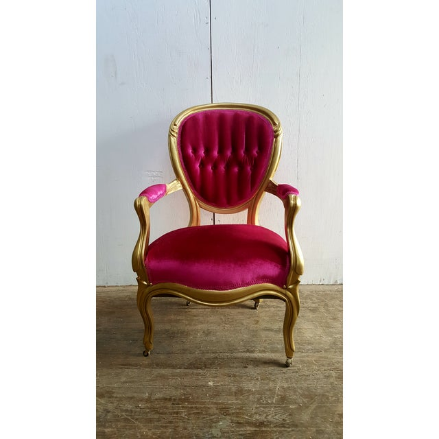 Art Nouveau Victorian Antique Pink Velvet and Gold Chair For Sale - Image 3 of 7