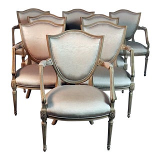Set of 8 French Louis XVI Style Shield Back Armchairs For Sale