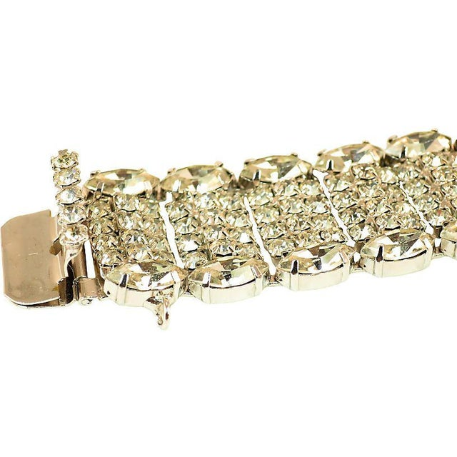 Mid-Century Modern Weiss Segmented Crystal Bracelet, 1950s For Sale - Image 3 of 7