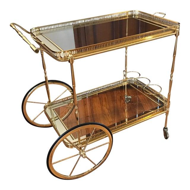Vintage Brass & Glass Bar Cart - Image 1 of 8