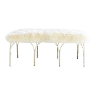 Frederick Weinberg Bench in Brazilian Sheepskin For Sale