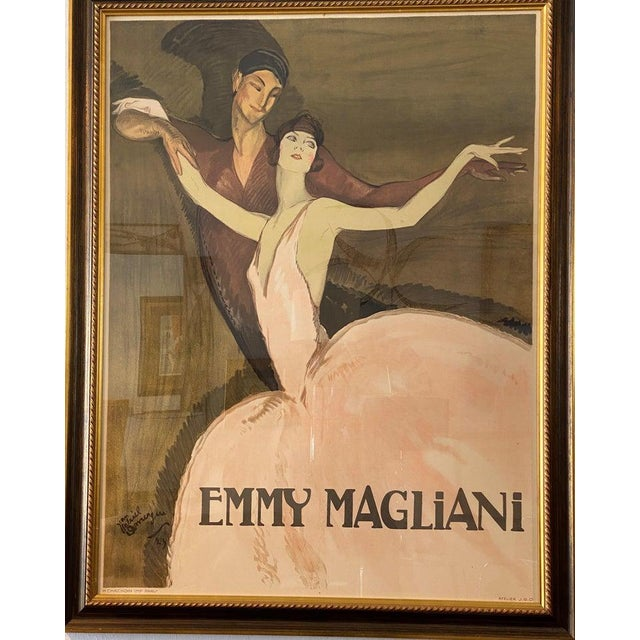 """Early 20th Century Vintage Art Deco """"Emmy Magliani"""" Ballet Poster For Sale - Image 5 of 13"""