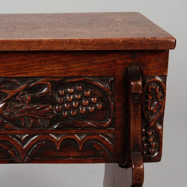 1920s Carved French Oak Flip Top Stool With Grapes For Sale - Image 5 of 8