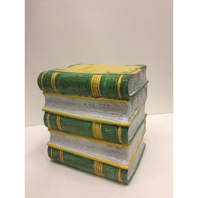 Tromp l'Oeil Stack of Books Glazed Terracotta Italian Side Table Garden Seat For Sale - Image 10 of 10