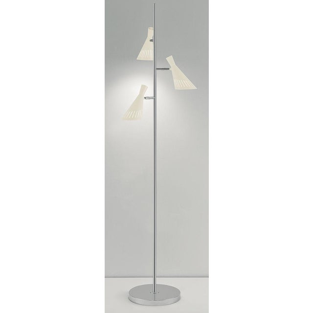 Metro Ivory With Polished Chrome Floor Light With 3 Lighting Cones For Sale - Image 4 of 5