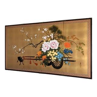 Vintage Japanese Hand Painted Flower Cart Byobu Folding Panel Silk Screen For Sale