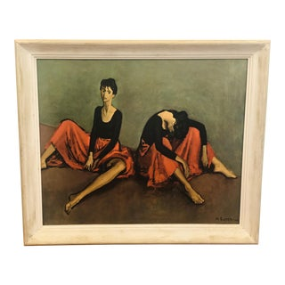 Vintage Mid-Century Moses Soyer Dancers Reposed Original Lithograph For Sale