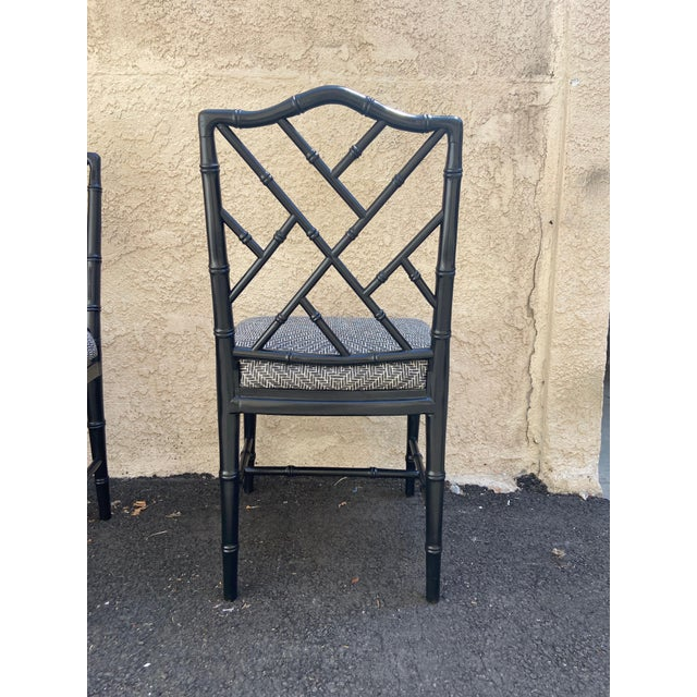 Set of Four Faux Bamboo Chinoiserie Chairs For Sale In Los Angeles - Image 6 of 8