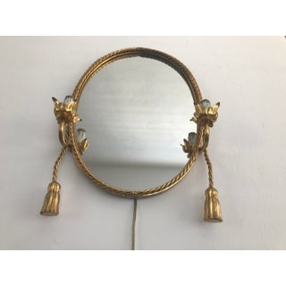 Vintage Gold Brass Oval Painted Electric Candlelight Mirror Rope Tassel Detail in the Style of Tony Duquette Preview
