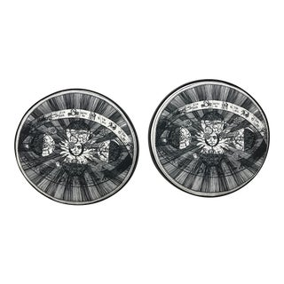 Modern Schumacher Fornasetti Style Poly Fill Cushions- A Pair For Sale