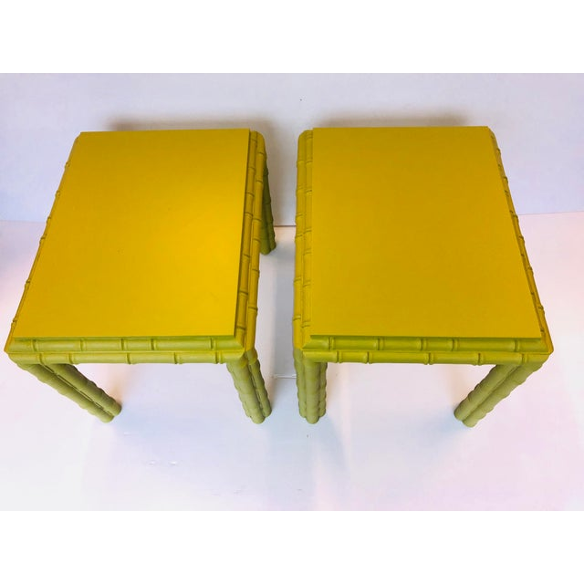 Chippendale Vintage Chippendale Faux Bamboo Side Tables - a Pair For Sale - Image 3 of 8