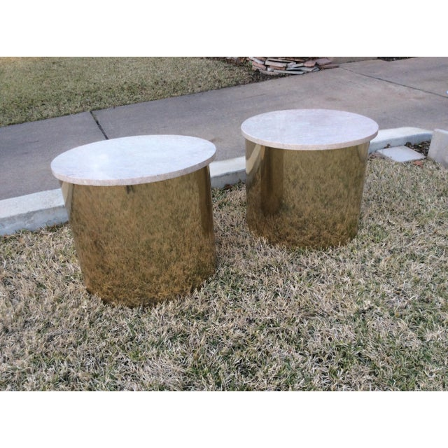 1970s Italian Paul Mayen Travertine Top Minimalist Cylinder Tables - a Pair For Sale In Dallas - Image 6 of 9