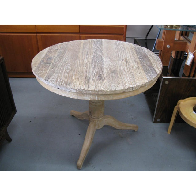 White Round Distressed Table For Sale In Charleston - Image 6 of 9