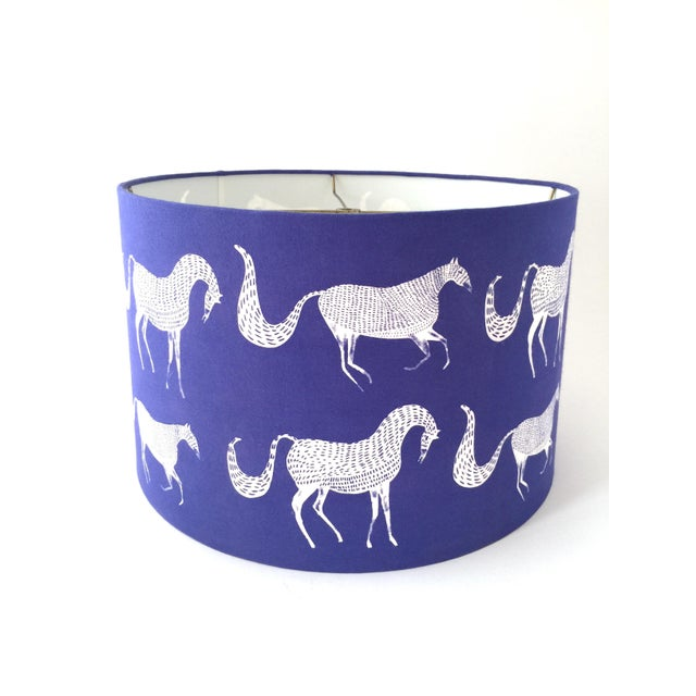 Late 20th Century Vintage Blue Scalamandre Style Drum Lampshades With Lascaux Horse Design - a Pair For Sale - Image 5 of 12
