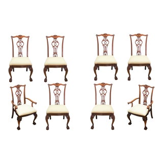 19th Century Antique Chippendale Carved Mahogany Dining Chairs - Set of 8 For Sale