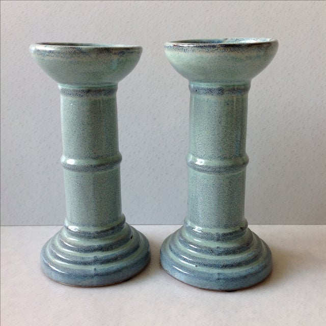 Shabby Chic Sea Foam Pottery Candlesticks - A Pair For Sale - Image 3 of 11