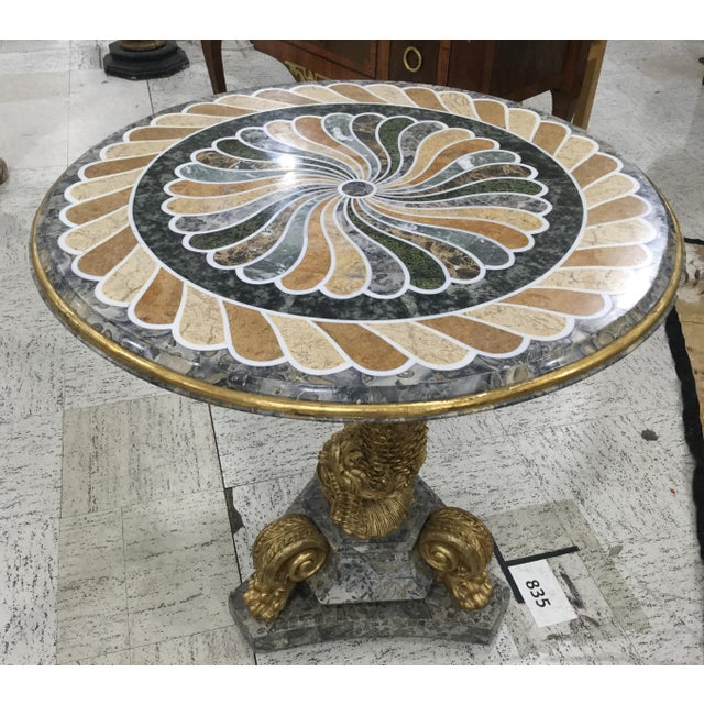 1980s 1980s Vintage Pietra Dura Dolphin Base Marble Table For Sale - Image 5 of 11