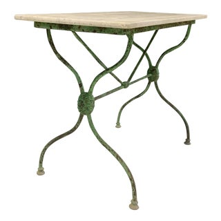 Antique French Metal Garden Table With Marble Top For Sale