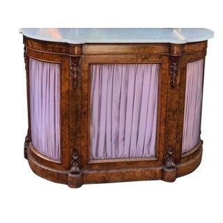 Antique English Burl Walnut Vitrine Display Vitrine Cabinet For Sale