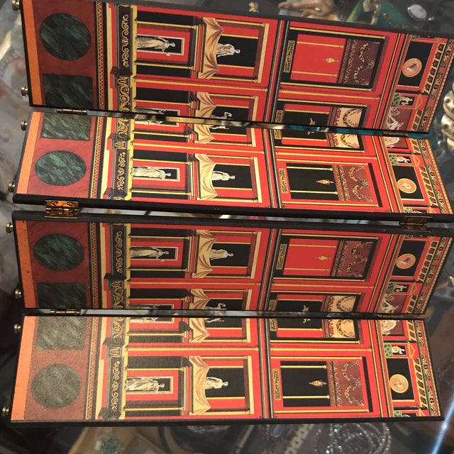 Red Fornasetti Miniature Decorative Screen For Sale - Image 8 of 9
