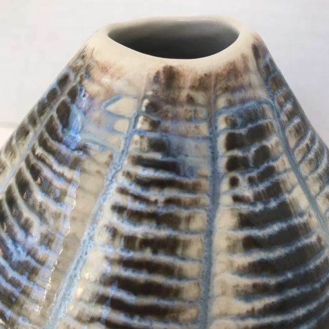 Unique Blue and Brown Ceramic Vase - Image 2 of 5
