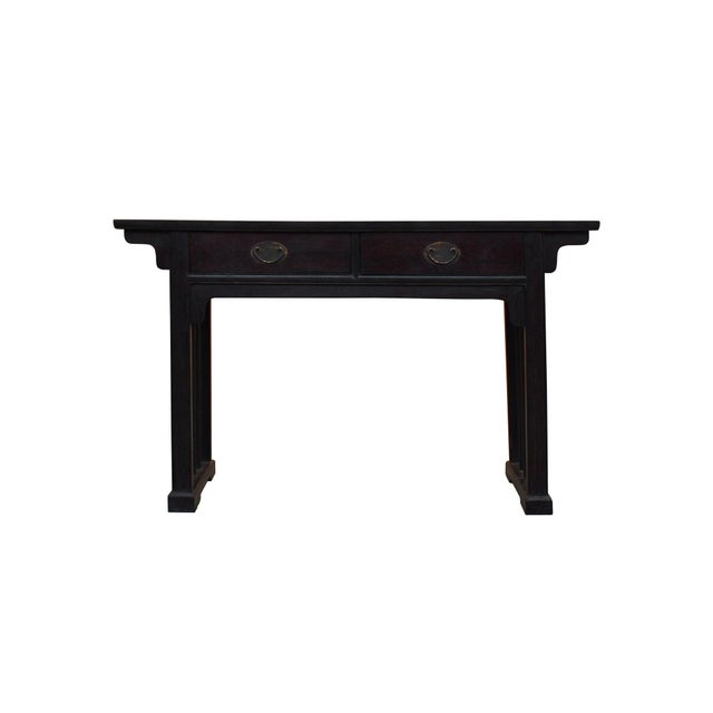 Chinese Dark Brown Black Huali Rosewood Plain Ming Style Altar Table For Sale - Image 10 of 10
