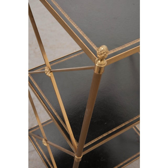 French 20th Century Neoclassical Brass and Leather Étagère For Sale - Image 9 of 10