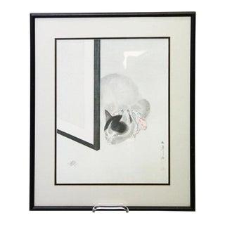 Japanese Framed Cat Print For Sale