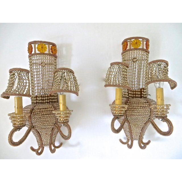 """Green Beaded Venetian """"Maison Bagues"""" Style Large Sconces - A Pair For Sale - Image 8 of 8"""
