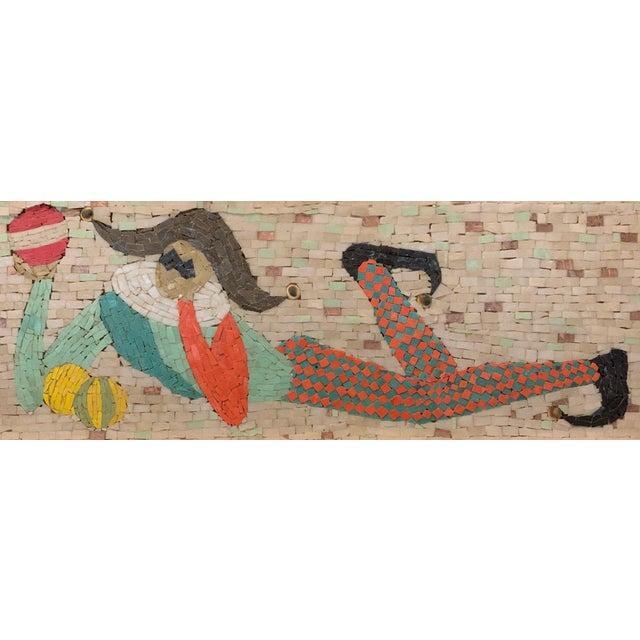 Vintage Harlequin Jester Tile Mosaic Wall Hanging For Sale