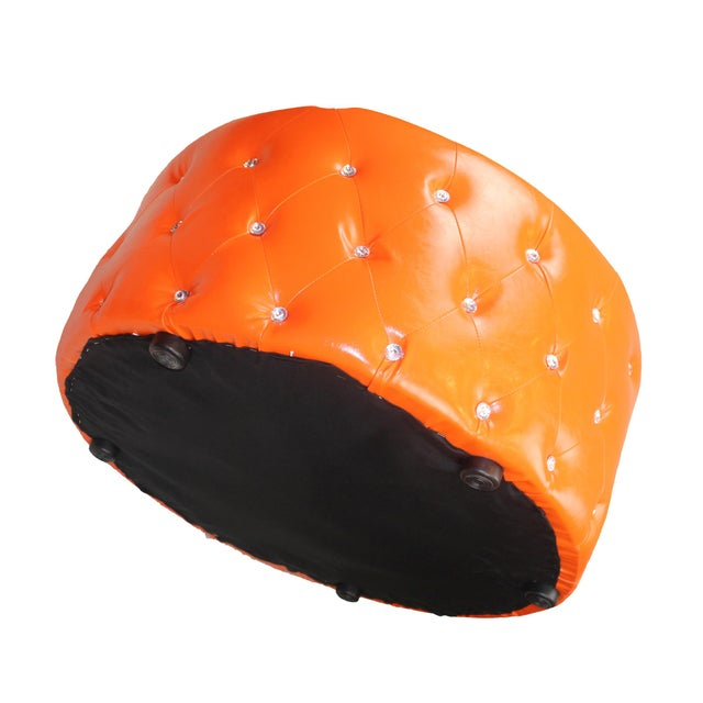 2010s Pasargad N Y Pu Orange Leather Ottoman For Sale - Image 5 of 13
