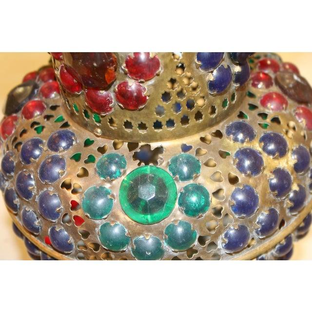 Metal Vintage 1970s Turkish Brass Multicolor Lantern For Sale - Image 7 of 9